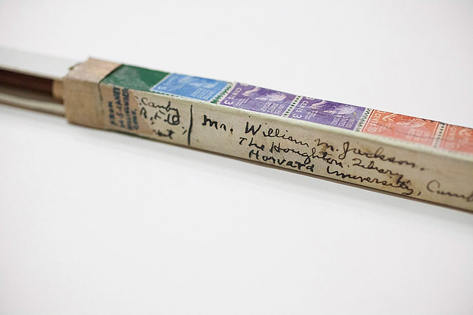 This slipcase box, addressed to Houghton Library in 1947 and pasted with postage stamps, contained an unsharpened John Thoreau pencil from donor (and Henry David Thoreau biographer) Henry Seidel Canby. (MS Am 2696, Houghton Library, Harvard University)