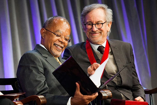 Henry Louis Gates Jr. (left), the event's host and director of the W.E.B. Du Bois Institute, shared a moment with medal recipient Steven Spielberg (photo 1). Gov. Deval Patrick garnered laughter during his introduction (photo 2). Sonia Sotomayor (from left), David Stern, and Tony Kushner didn't let the evening's lighter moments pass them by either (photo 3).