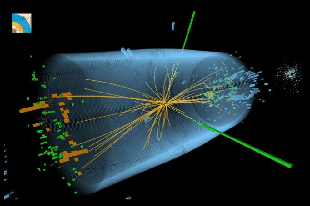"The 2013 Nobel Prize in physics was awarded to Peter Higgs and Francois Englert, who first suggested that the existence of a particle called the Higgs boson could explain how particles have mass. An image from CERN shows a typical candidate event for the Higgs boson. Several Harvard faculty participated in the ""Higgs hunt."""