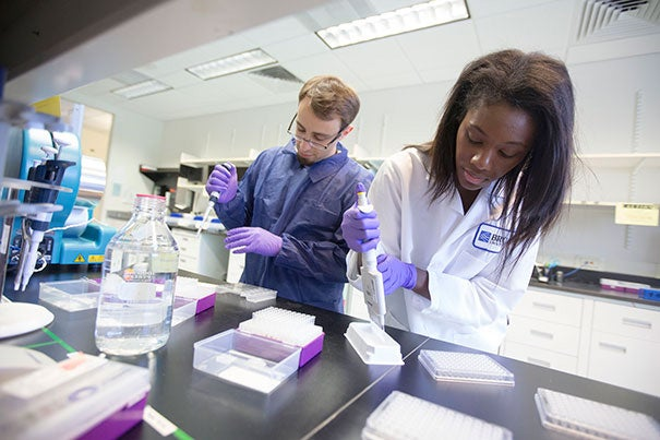 """""""As the Broad Institute nears its 10th anniversary, it has already made transformative discoveries, building on the successes of the Human Genome Project,"""" said Eli Broad, who with his wife, Edythe, announced a $100 million gift to the Broad Institute. In a Broad lab, Cassandra Elie (right) and Kevin Joseph, both process development associates, perform whole genome sample preparation work."""