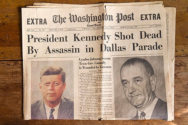 """The Washington Post printed an """"Extra"""" edition announcing the assassination of President Kennedy on Nov. 22, 1963. Fifty years later, five members of the Harvard community recall that day and how it affected them."""