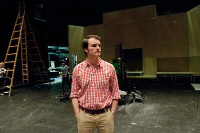 "Harvard senior Caleb Thompson is the director of ""Conspiracy,"" which premieres at the Loeb Mainstage at the American Repertory Theater. The story has been brought to the stage only once before, in an amateur production in East Lansing, Mich."