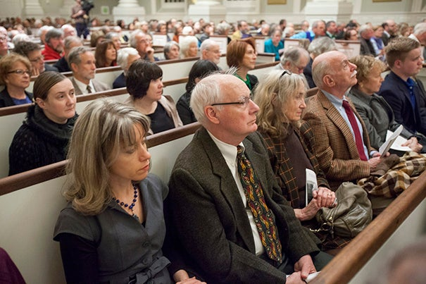 "On a chilly, rainy late afternoon — Irish weather — the pews at Memorial Church were nearly full for a memorial honoring the late poet Seamus Heaney. Present were those ""who loved Seamus on and off the page,"" said Peter Sacks, Harvard's John P. Marquand Professor of English."