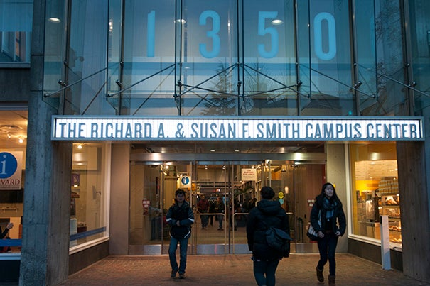 The project will entail the renovation and remodeling of Holyoke Center as well as the focused renovation of the building's exterior. Holyoke Center was renamed the Richard A. and Susan F. Smith Campus Center during a brief ceremony outside the building.
