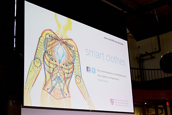 """The Radcliffe Institute for Advanced Study hosted a symposium that examined recent advances in """"smart clothes."""" Speakers at the event were experts in biology, design, materials science, engineering, medicine, and nanotechnology, including Babak Parviz (photo 2), the developer of Google eyewear."""