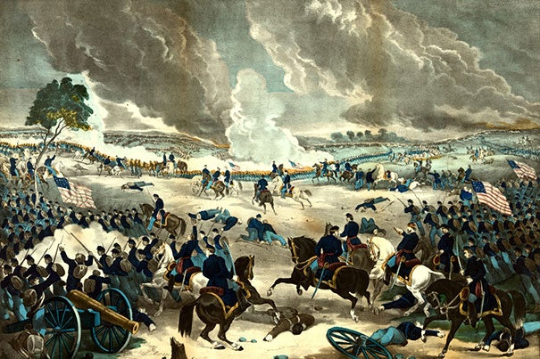 """To honor the battle, remember the soldiers, and commemorate the 150th anniversary of the Gettysburg Address, Harvard President Drew Faust and other dignitaries took the stage Monday for a panel discussion about """"These Honored Dead: Death and Rebirth in the Civil War.""""  This print shows Union troops advancing during the battle of Gettysburg."""