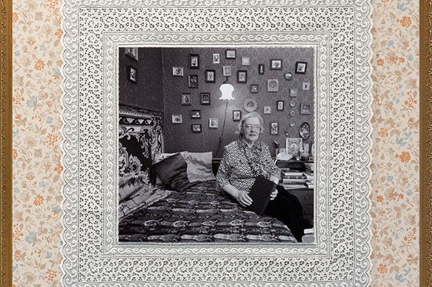 """""""The Blokadnitsy Project,"""" an exhibit by Jill Bough, presents photographs of women who survived the Siege of Leningrad. Each photo collage (of which only a detail appears here) is framed with artifacts from the women's apartments and a statement, like this one by Emma: """"The stress we felt was not just about the war. It was the fact that we were prisoners."""""""