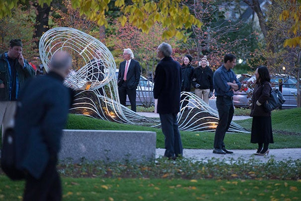 """""""Saturate the Moment,"""" the work of Harvard Graduate School of Design students, was unveiled during the Radcliffe Open Yard event. The piece will reside in the Wallach Garden."""