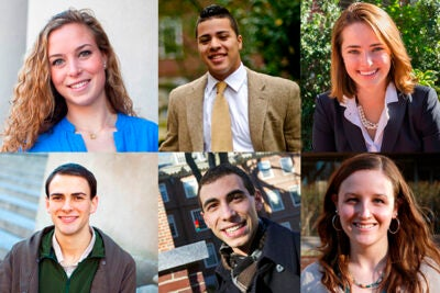 Harvard's six Rhodes Scholars are Elizabeth Byrne (clockwise from top left), Alexander Diaz, Aurora Griffin, Katherine Warren, Paolo Singer, and Andrew Lea. The six will attend the University of Oxford in October 2014.
