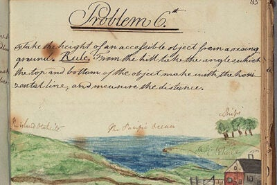 """Among the 33,000 Colonial North American images Harvard has digitized so far is """"Problem 6th"""" from the 1795 student mathematical notebook of William Tudor (1779-1830), who graduated from Harvard College in 1796. He used the drawing to playfully transport himself to an island in the Pacific Ocean. Tudor became a leading literary figure in Boston, coined the phrase """"Athens of America"""" for his native city, and helped found the first American railroad."""