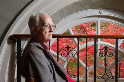Richard Griffin '51 sits in Memorial Church. Richard is 85 and lives close by on Howland Street. During the Vietnam War protest era he was Roman Catholic chaplain at Harvard. He stays active by swimming daily and writing a syndicated newspaper column on senior living. Jon Chase/Harvard Staff Photographer