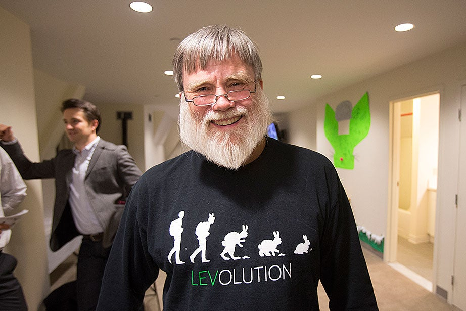 At Ridgely swing housing, House Master Howard Georgi sports the most recent Leverett logo on his sweatshirt.
