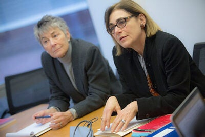 Jennifer Leaning (left),  FXB Center director, and Professor Jacqueline Bhabha discussed the creation of a suite of five classes that will focus on child protection.