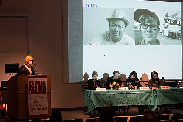 """The Mahindra Humanities Center hosted """"Trans Arts,"""" a University-wide coming out for the trans arts, including texts, media, and performances from within the world of what insiders call the trans and genderqueer life. Among the guests was Tim Trace Peterson (at podium), co-editor of """"Troubling the Line,"""" a new poetry collection featuring trans writers."""