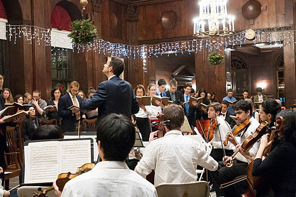 """Conductor Edward Elwyn Jones leads the 42nd annual Dunster House """"Messiah"""" Sing."""