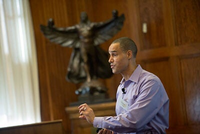 Eddie Pate, vice president of diversity and inclusion at Avanade Inc., spoke to a crowd of Harvard faculty and staff at a recent Faculty of Arts and Sciences Diversity Dialogue session.