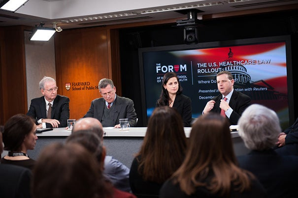 "John McDonough (from left), professor of the practice of public health; Robert Blendon, the Richard L. Menschel Professor of Public Health; Katherine Baicker, professor of health economics; and Otto Eckstein Professor of Applied Economics David Cutler participated in ""The U.S. Healthcare Law Rollout: Where Do We Stand?"""