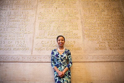 "Meighan Parker, MTS '15, Memorial Church grants committee co-chair: ""In the past years, the Memorial Church has distributed $50,000-plus to nonprofit organizations, which range from homeless shelters to food banks, in Boston and Cambridge communities. My role has shed light on the wonderful charitable organizations in our communities, and I am thankful to play a part in assisting their missions."""