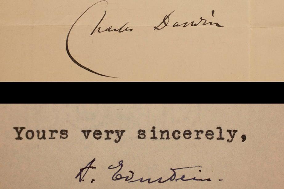Charles Darwin, 1871, and Albert Einstein, 1943