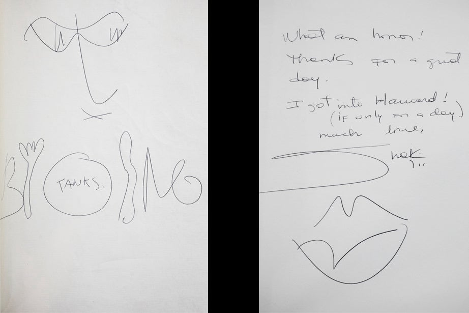 """Bono and talking tableware in 2001 (left) and Shakira's """"Lips don't lie"""" signature in 2011"""