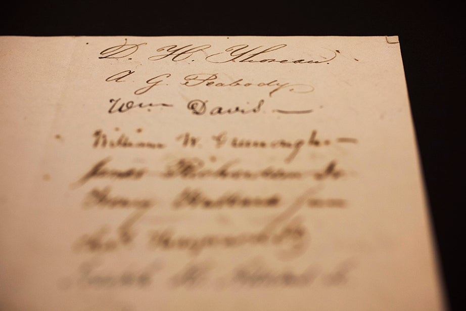 """""""D.H. Thoreau,"""" who later took his middle name """"Henry"""" as his first name, signs at the top of the page in a sheet of signatures from the Class of 1837."""