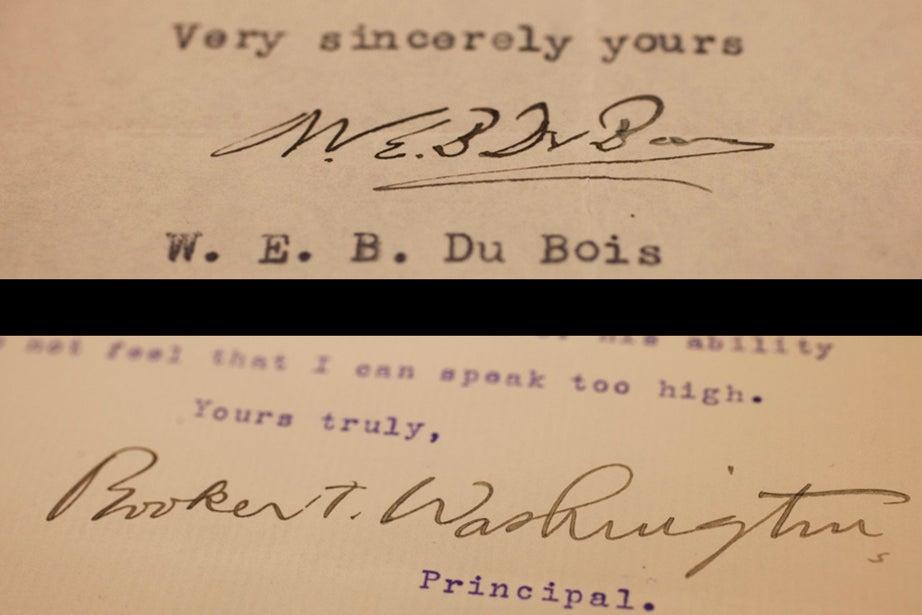 Two rivals: W.E.B. Du Bois in 1935 and Booker T. Washington, circa 1903