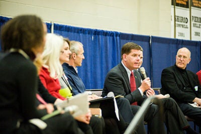 "Boston Mayor-elect Marty Walsh (photo 1), well-supported by Harvard affiliates, broke into 11 idea-generating sessions on Saturday at a town hall sponsored by the Rappaport Institute. Moderator and Rappaport Director Edward Glaeser (photo 2) suggested Walsh would be ""the most inclusive mayor that I could possibly imagine."""