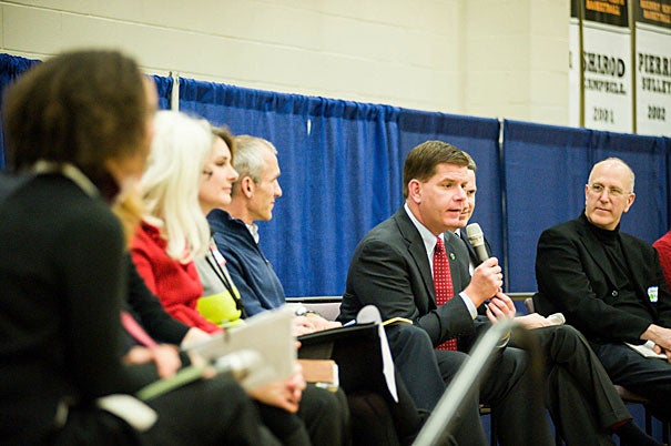 """Boston Mayor-elect Marty Walsh (photo 1), well-supported by Harvard affiliates, broke into 11 idea-generating sessions on Saturday at a town hall sponsored by the Rappaport Institute. Moderator and Rappaport Director Edward Glaeser (photo 2) suggested Walsh would be """"the most inclusive mayor that I could possibly imagine."""""""