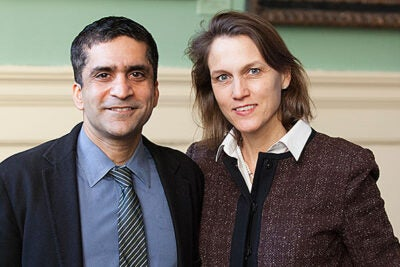 """Rakesh Khurana, who was named dean of Harvard College, also shares the role of co-master at Cabot House with his wife, Stephanie. """"I believe that the perspective and the experience we bring by having the privilege of living with our undergraduate students and tutors at Cabot House gives me a window into our students' day-to-day experiences and the questions they are trying to answer,"""" he said."""