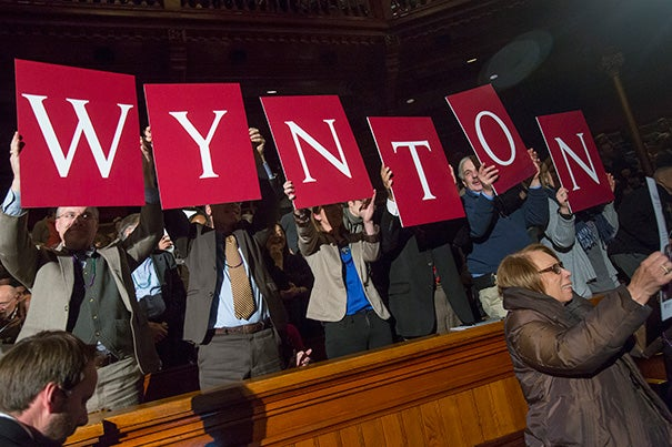 """Wynton Marsalis went out with a bang, delivering his sixth and final lecture last night. Cornetist Marsalis and company (photo 2) transported the hall to Bourbon Street in """"a kind of coming home,"""" said President Drew Faust in her introduction (photo 3)."""