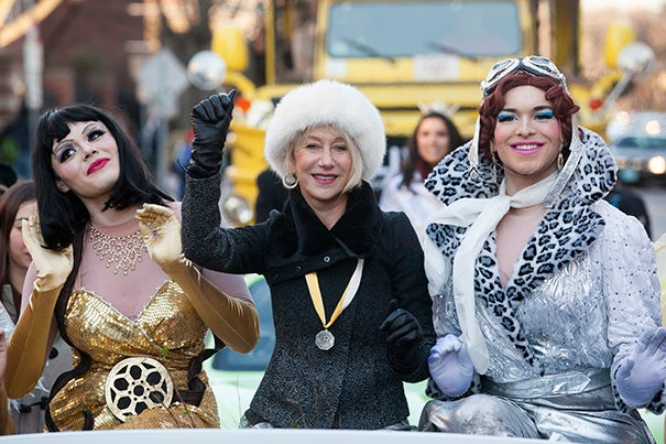 Hasty Pudding Woman of the Year Helen Mirren rides in a parade through Harvard Square (photo 1), flanked by Hasty Pudding Theatricals President Tony Oblen '14 (left) and cast Vice President Ethan Hardy '14. Earlier in the day, Mirren was treated to a tour of Hasty's new digs at 96 Winthrop St. (photo 2) and of Harvard Yard, led by Megan McDonnell '14 (photo 3).