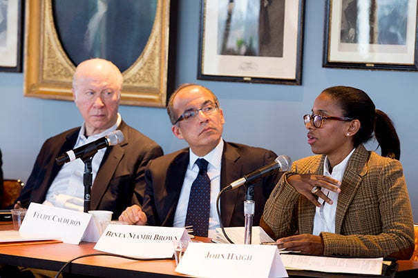 Among the panelists at a Harvard Kennedy School discussion on events at the World Economic Forum in Davos, Switzerland, were David Gergen (from left), Felipe Calderón, former president of Mexico, and Binta Niambi Brown. Brown, a senior fellow at the Mossavar-Rahmani Center for Business and Government, attended her first Davos event as part of the forum's Young Global Leaders program.