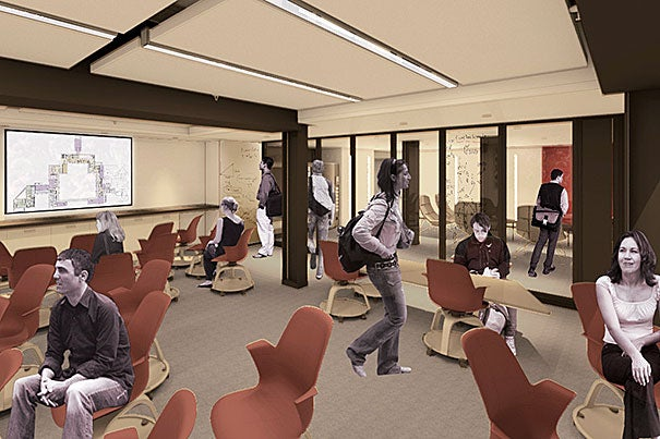 "A new ""smart classroom"" (photo 1), lounge space (photo 2), and fitness room are all part of the Dunster House renewal. One of the squash courts on the lower level of Dunster House (photo 3) will be transformed into a multipurpose recreation room. Additional courts will be converted to exercise and fitness space. The work will begin immediately following Commencement, taking the House offline for 15 months."