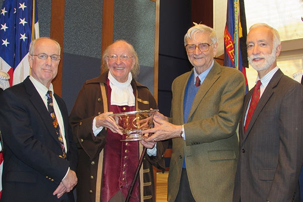 """Harvard's E.O. Wilson (third from left) received the Benjamin Franklin Founder Award from """"Benjamin Franklin."""" Also at the ceremony were Douglas W. Tallamy, chair of the Department of Entomology and Wildlife Ecology at the University of Delaware (far left) and Robert McCracken Peck, senior fellow, Academy of Natural Sciences of Drexel University (far right)."""