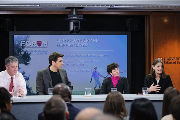 "Mortality rates have increased among less-educated American women, and even wealthy Americans have a shorter life expectancy than their European counterparts, said Harvard Professor Lisa Berkman (far right) during the HSPH forum event ""Living Longer and Happier Lives: The Science Behind Healthy Aging."" Joining Berkman were Thomas Perls (from far left), William Mair, and Francine Grodstein."