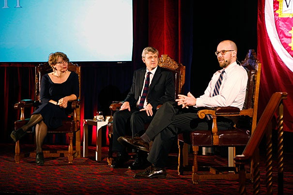 """Three Harvard scholars — Jill Lepore (from left, photo 1), David Hempton, and Michael Norton — offered their thoughts on what it means to lead a good life in today's complex world. President Drew Faust opened the HAA-sponsored talk in London (photo 2), which included an opportunity for people to share what Harvard means to them. For Hempton (photo 3), it is """"Where I try to make the world a better place."""""""