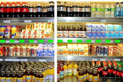 "Before MGH changed its cafeteria to conform to  ""traffic light"" labels and product placement, sugar-sweetened soft drinks and juices were mixed together with diet beverages and low-fat dairy items (left). After the implementation (right), water, diet beverages, and other healthy choices are now placed at or above eye level (dotted line), while less healthy items are below."