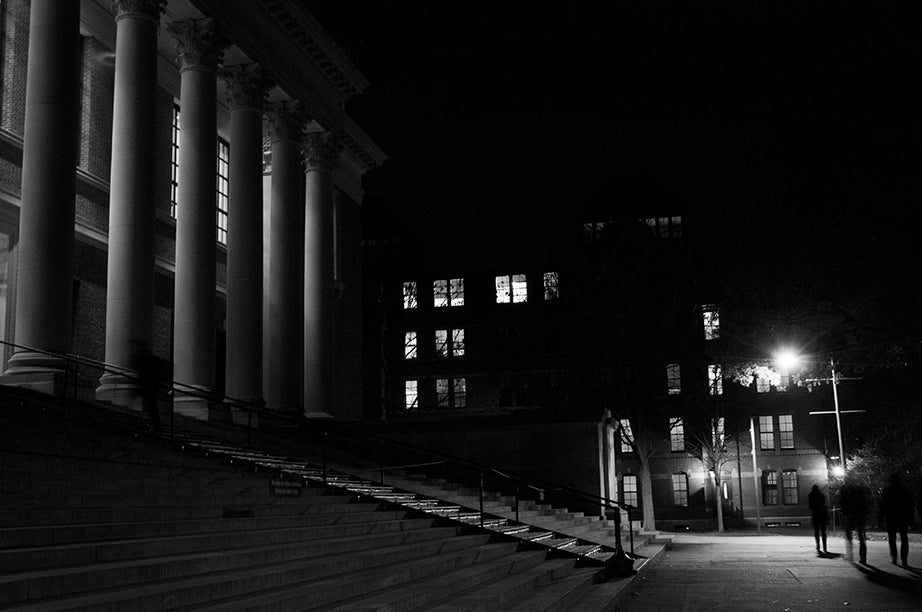 5:53 p.m., Widener Library