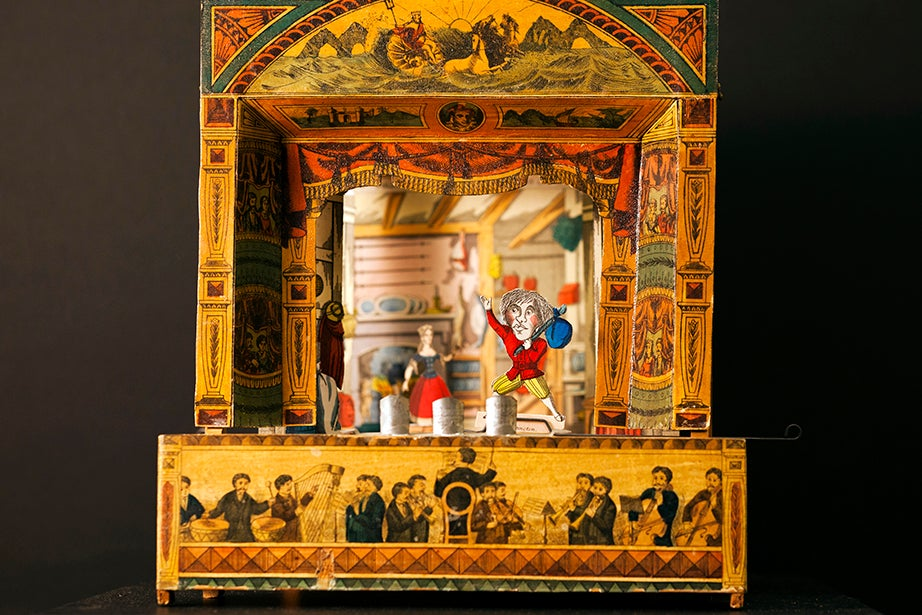 """A 19th-century toy theater stage set of """"Whittington and His Cat,"""" made by Benjamin Pollock of London, circa 1880."""