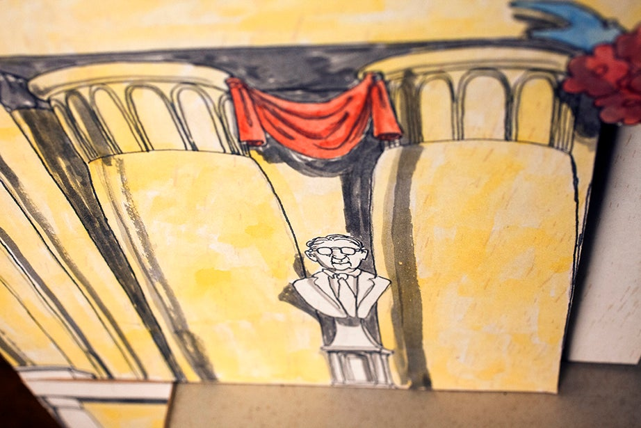 """A detail from a model stage set for """"The Magic Flute,"""" a Lowell House Opera done in both 1975 and 1992. Date of model unknown."""