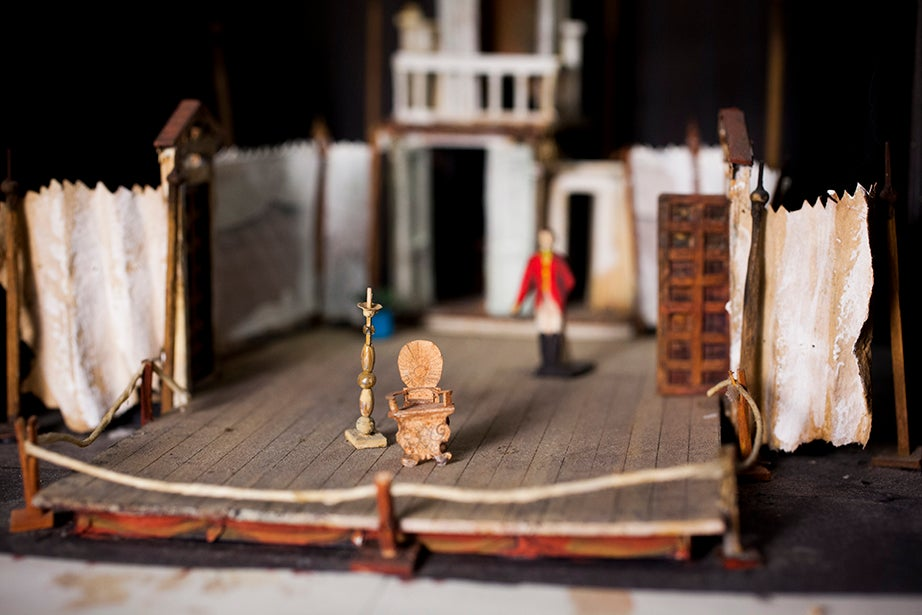 "A model by Joan Ferenchak for ""Figaro,"" a 1978 student production on the Loeb Drama Center's mainstage."