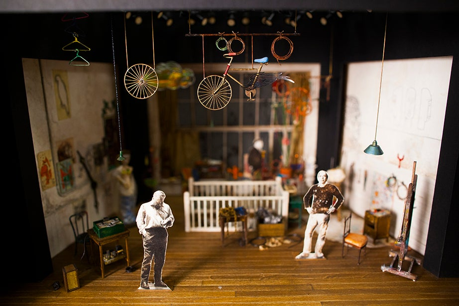 """A half-inch-scale model for """"Artist Descending a Staircase,"""" a 1972 Tom Stoppard radio play first adapted for the stage in 1989."""