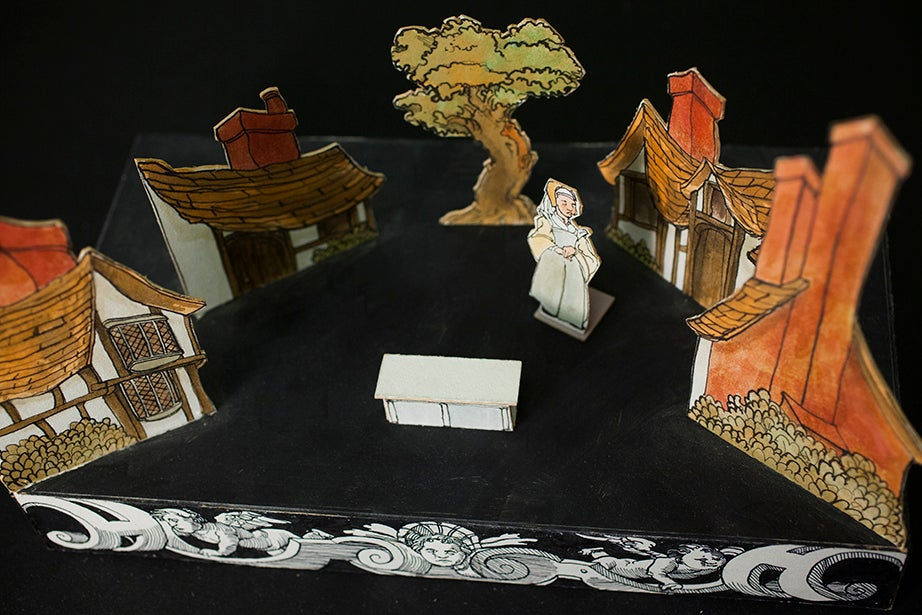 """A model stage set for Otto Nicolai's 1849 opera """"The Merry Wives of Windsor,"""" produced in 1988 by the Lowell House Opera and inspired by the 1602 comedy by William Shakespeare."""