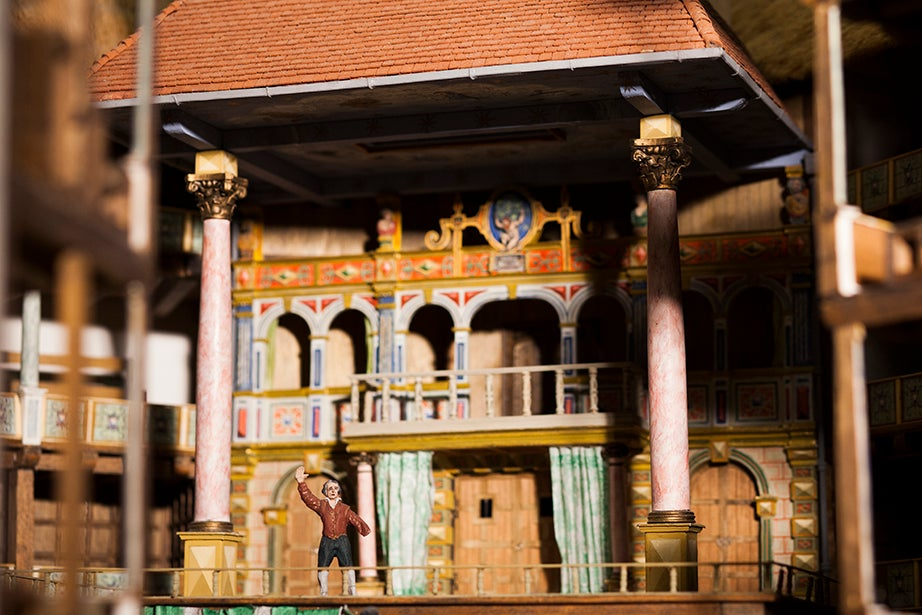 A detail from the 1953 model of Shakespeare's Globe Theatre, later realized as a full-scale modern reconstruction completed in 1997.