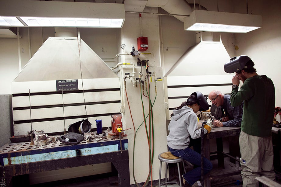 The welding seminar was designed to be a hands-on introduction to safe practices for those with no prior experience. Stephanie Mitchell/Harvard Staff Photographer