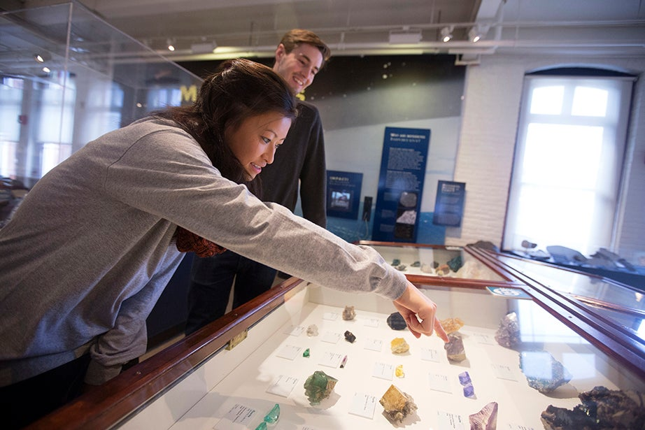 Julianne Chu '15 and Stefan Skalbania '15 get an up-close look at the world-renowned research museums at the Harvard Museum of Natural History. Kris Snibbe/Harvard Staff Photographer