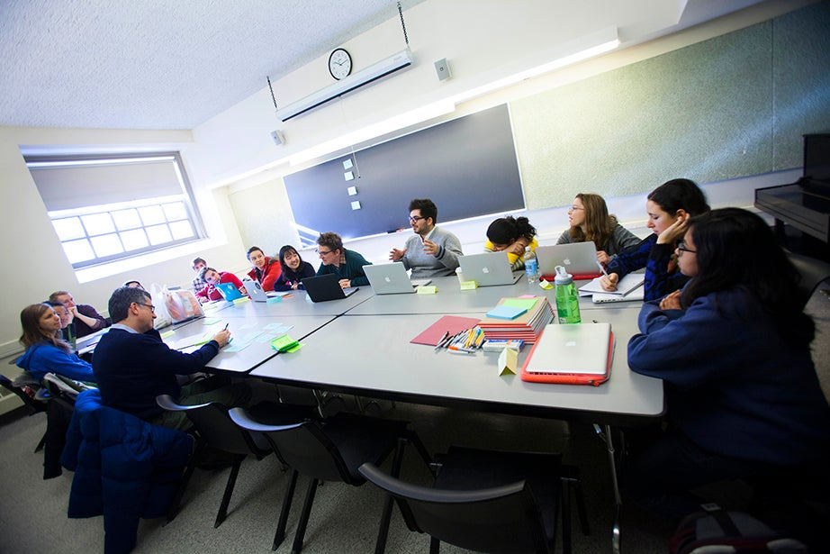 Greg Daniels '85 leads students through an intensive writing seminar, giving them a taste of what it is like to work in a television. Stephanie Mitchell/Harvard Staff Photographer