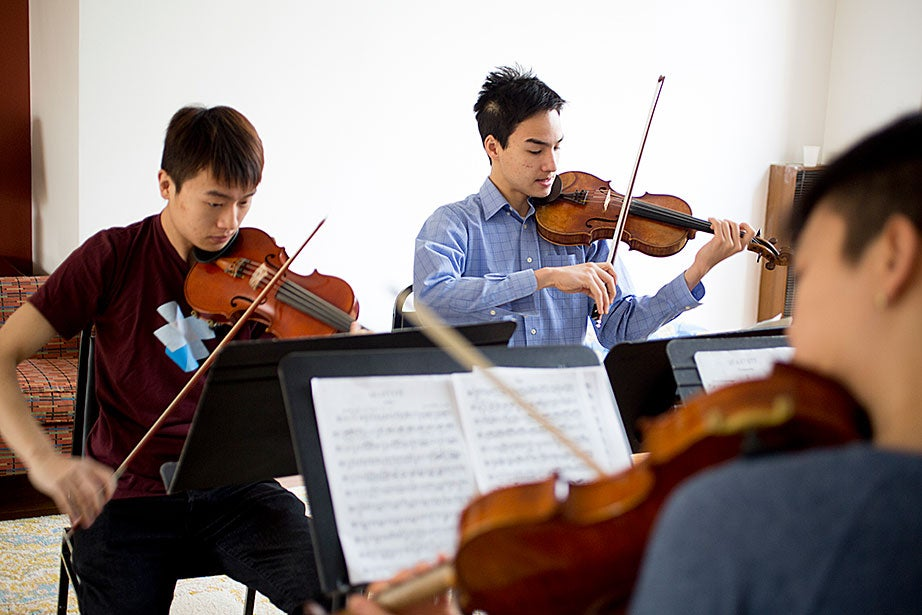 A view of three of the musicians: Albert Li (from left), David Roberts, and Jiho Kang.
