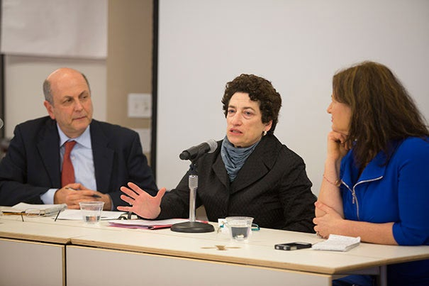 """Panelists at the Kennedy School believe the ongoing debate over climate change is a matter of politics, not science. """"It's a story about government regulation, about organizations that take a position against government's role in the marketplace,"""" said Naomi Oreskes (center), a history of science professor at Harvard. Oreskes was joined by Peter Frumhoff of the Union of Concerned Scientists and Suzanne Goldenberg of The Guardian."""