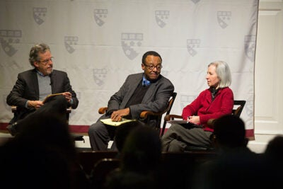 A Harvard Graduate School of Education panel discussion on income inequality featured HGSE Professor Paul Reville (from left), Chicago Tribune columnist Clarence Page,  and Martha Minow, dean of Harvard Law School.
